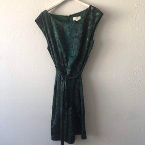 LOFT Dark Green Printed Sleeveless Belted Dress